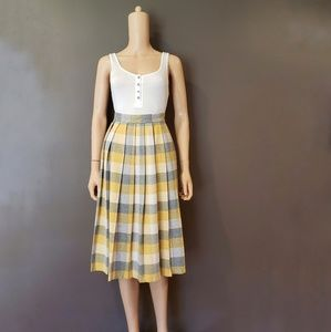 Vintage Wool Plaid High Waisted Midi Skirt XS